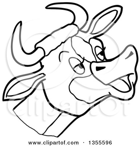 Outline Clipart of a Cartoon Black and White Mooing Cow Head - Royalty Free Lineart Vector Illustration by LaffToon