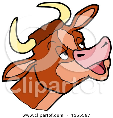 Clipart of a Cartoon Mooing Cow Head - Royalty Free Vector Illustration by LaffToon
