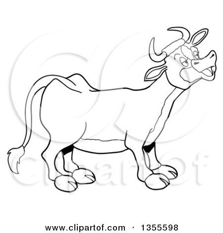 Outline Clipart of a Cartoon Black and White Mooing Cow - Royalty Free Lineart Vector Illustration by LaffToon
