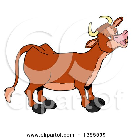 Clipart of a Cartoon Mooing Cow - Royalty Free Vector Illustration by LaffToon