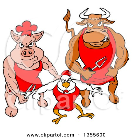 Clipart of a Cartoon Buff Bbq Chef Bull, Chicken and Pig Flexing Their Muscles - Royalty Free Vector Illustration by LaffToon