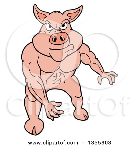 Clipart of a Cartoon Buff Pig Flexing His Muscles - Royalty Free Vector Illustration by LaffToon