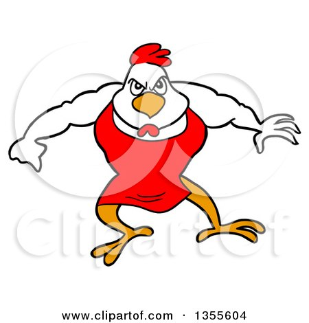 Clipart of a Cartoon Buff Bbq Chef Chicken Flexing His Muscles - Royalty Free Vector Illustration by LaffToon