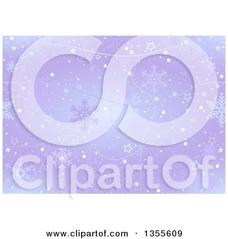 Clipart of a Christmas Background of Snowflakes, Strands, Spirals and Stars on Purple - Royalty Free Vector Illustration by dero