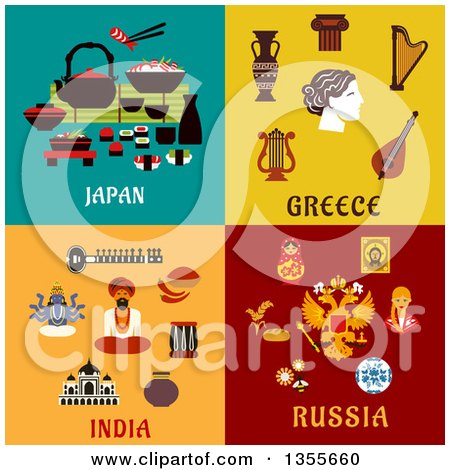 Flat Design Japan, Greece, India and Russia Culture Items Posters, Art Prints