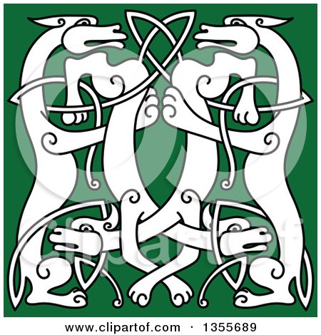 Clipart of a Black and White Celtic Wild Dog Knot on Green - Royalty Free Vector Illustration by Vector Tradition SM