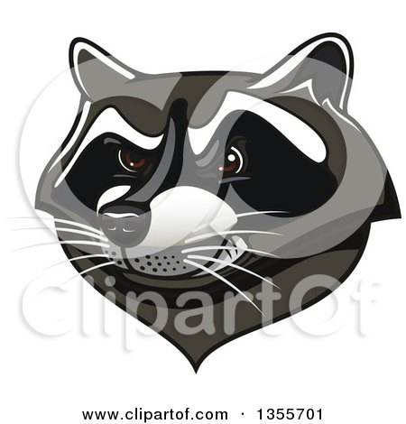 Clipart of a Tough Raccoon Mascot Head - Royalty Free Vector Illustration by Vector Tradition SM