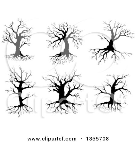Clipart of Black Silhouetted Bare Trees - Royalty Free Vector Illustration by Vector Tradition SM
