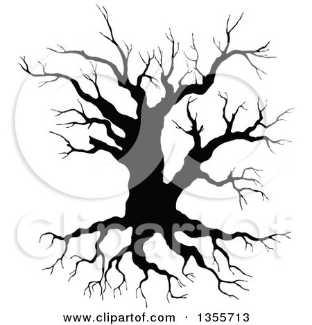 Clipart of a Black Silhouetted Bare Tree - Royalty Free Vector Illustration by Vector Tradition SM