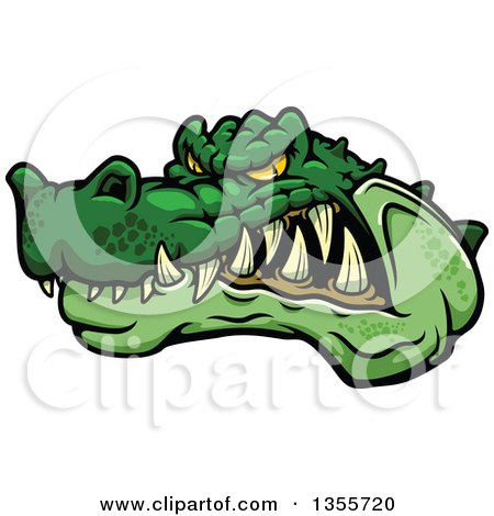 Clipart of a Cartoon Tough Angry Green Crocodile Mascot Head - Royalty Free Vector Illustration by Vector Tradition SM