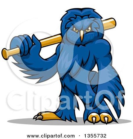 Clipart of a Cartoonblue Owl Mascot Holding a Baseball Bat - Royalty Free Vector Illustration by Vector Tradition SM