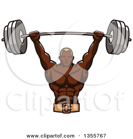 Clipart of a Black Male Bodybuilder Holding up a Heavy Barbell - Royalty Free Vector Illustration by Vector Tradition SM