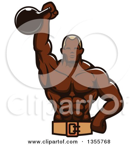 Clipart of a Black Male Bodybuilder Holding up a Kettlebell - Royalty Free Vector Illustration by Vector Tradition SM
