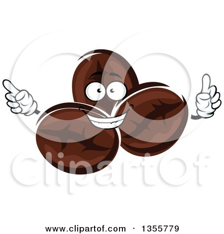 Clipart of a Cartoon Coffee Beans Character - Royalty Free Vector Illustration by Vector Tradition SM