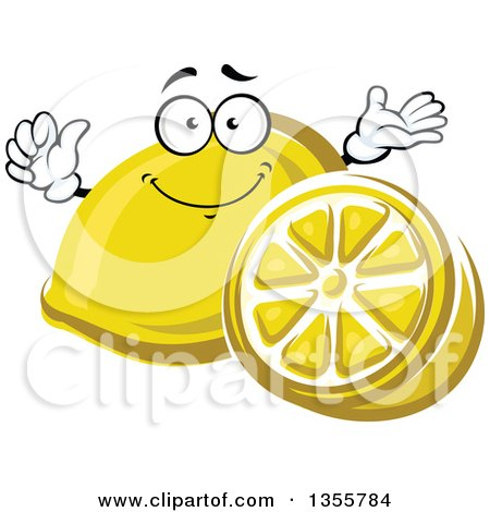 Clipart of a Cartoon Lemon Character and Half - Royalty Free Vector Illustration by Vector Tradition SM