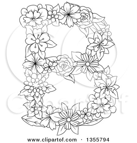 Clipart of a Black and White Outlined Floral Capital Letter B - Royalty Free Vector Illustration by Vector Tradition SM