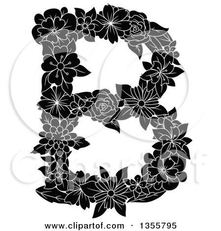 Clipart of a Black and White Floral Capital Letter B - Royalty Free Vector Illustration by Vector Tradition SM