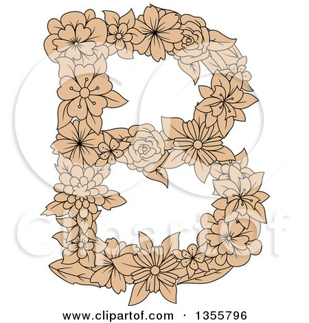 Clipart of a Tan Floral Capital Letter B - Royalty Free Vector Illustration by Vector Tradition SM