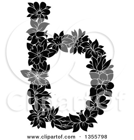 Clipart of a Black and White Floral Lowercase Letter B - Royalty Free Vector Illustration by Vector Tradition SM