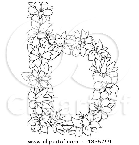 Clipart of a Black and White Outlined Floral Lowercase Letter B - Royalty Free Vector Illustration by Vector Tradition SM