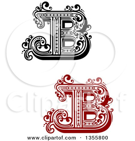 retro red black and white capital letter b designs with flourishes posters art prints