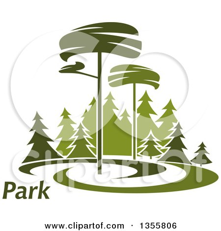 Clipart of a Park with Evergreen Trees and Text - Royalty Free Vector Illustration by Vector Tradition SM