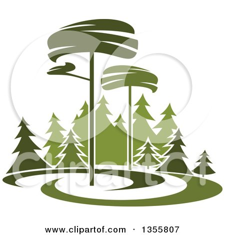 Clipart of a Park with Evergreen Trees - Royalty Free Vector Illustration by Vector Tradition SM
