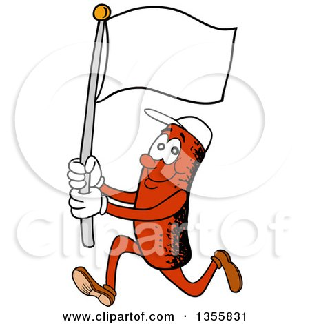 Clipart of a Cartoon Sausage Character Running with a Blank Flag - Royalty Free Vector Illustration by LaffToon