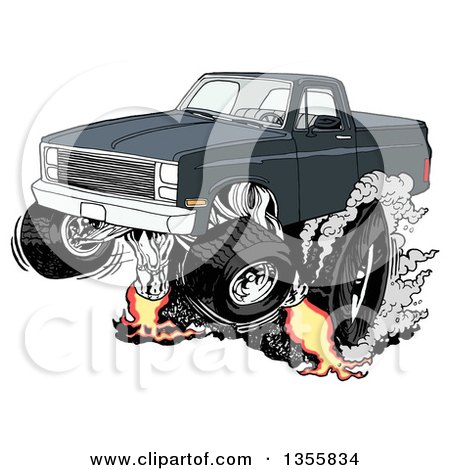 Clipart of a Cartoon Black Chevy Pickup Truck Peeling out ...