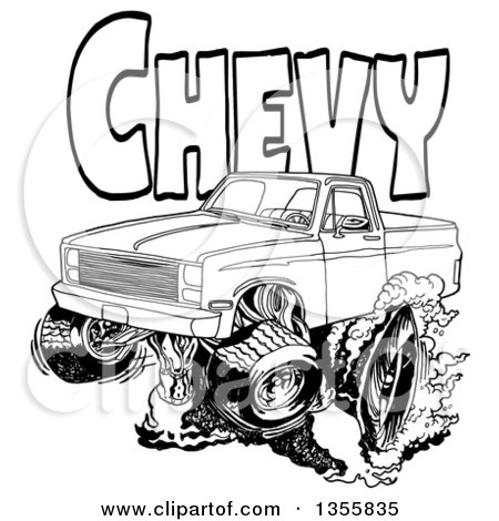 Clipart of a Cartoon Black and White Chevrolet Pickup Truck Peeling out Under Chevy Text - Royalty Free Vector Illustration by LaffToon