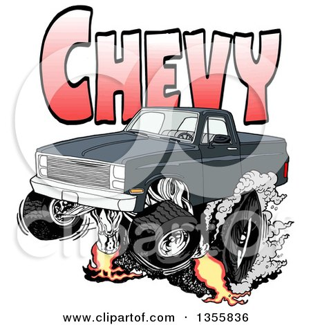 Clipart of a Cartoon Black Chevrolet Pickup Truck Peeling out Under Red Chevy Text - Royalty Free Vector Illustration by LaffToon
