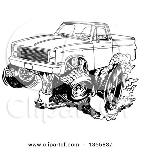 Clipart of a Cartoon Black and White Chevy Pickup Truck Peeling out - Royalty Free Vector Illustration by LaffToon