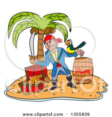 Clipart of a Cartoon Pirate Holding a Sword and Winking with a Parrot on His Arm, Standing with a Rum Barrel and Treasure on a Tropical Island - Royalty Free Vector Illustration by LaffToon