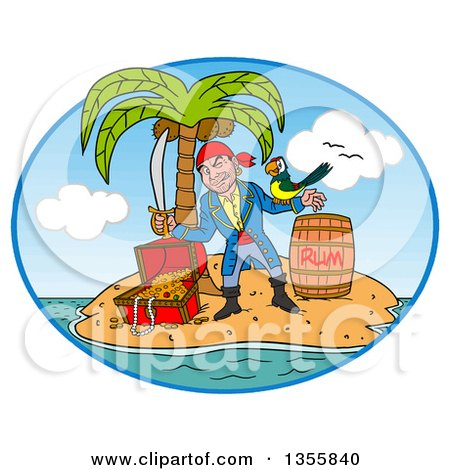 Clipart of a Cartoon Pirate Holding a Sword and Winking with a Parrot on His Arm, Standing with a Rum Barrel and Treasure in a Tropical Island Oval - Royalty Free Vector Illustration by LaffToon