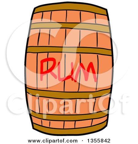 Clipart of a Cartoon Wooden Rum Barrel - Royalty Free Vector Illustration by LaffToon
