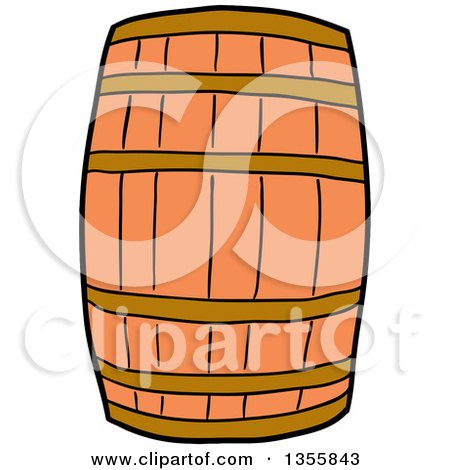 Clipart of a Cartoon Wooden Barrel - Royalty Free Vector Illustration by LaffToon