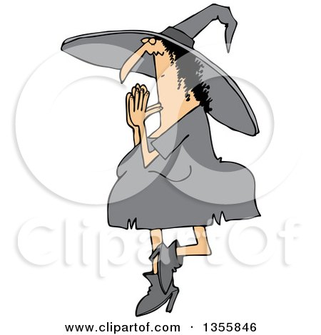 Clipart Of A Cartoon Halloween Witch Doing Yoga Royalty Free Vector Illustration