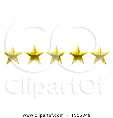 Clipart Of A 3d Five Star Rating Award Royalty Free Vector Illustration