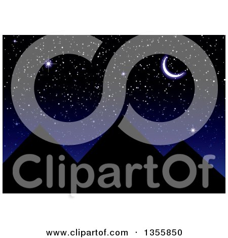 Clipart Of A Stunning Night Sky Of A Crescent Moon And Stars Over The Silhouetted Egyptian Pyramids Royalty Free Vector Illustration