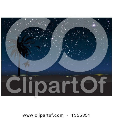 Clipart of a Spectacular Night Sky of Stars over a Silhouetted Desert Landscape with Palm Trees - Royalty Free Vector Illustration by michaeltravers
