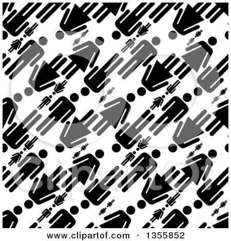 Seamless Background Pattern of Black Silhouetted Men and Women over White Posters, Art Prints