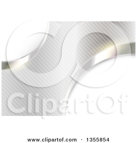 Clipart of a Shiny Metallic Abstract Background of Partial Circles over Stripes - Royalty Free Vector Illustration by dero