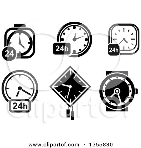 Clipart of Black and White 24 Clocks and a Wristwatch - Royalty Free Vector Illustration by Vector Tradition SM