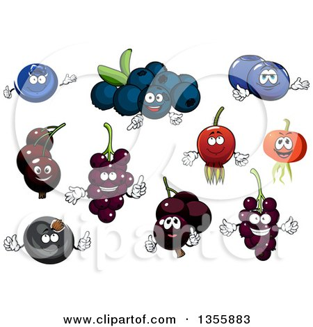 Clipart of Cartoon Blueberry, Currant and Black Currant Characters - Royalty Free Vector Illustration by Vector Tradition SM
