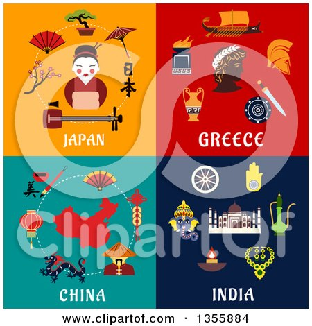 Clipart of Flat Design Japan, Greece, China and India Culture Items - Royalty Free Vector Illustration by Vector Tradition SM