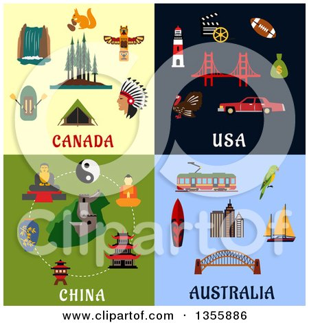 Clipart of Flat Design Canada, Usa, China, and Australia Culture Items - Royalty Free Vector Illustration by Vector Tradition SM