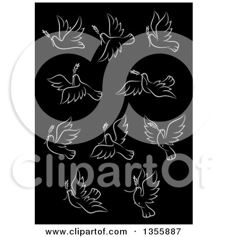 Clipart of White Peace Doves Flying on Black - Royalty Free Vector Illustration by Vector Tradition SM