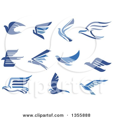 Clipart of Blue Flying Eagles and Doves - Royalty Free Vector Illustration by Vector Tradition SM