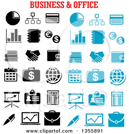 Clipart of a Black and White and Blue Business and Office Icons - Royalty Free Vector Illustration by Vector Tradition SM