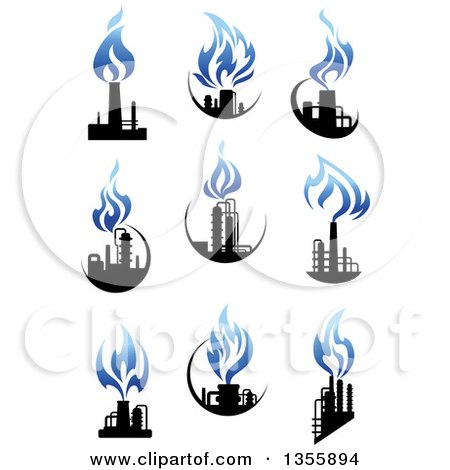 Clipart of Black and Blue Natural Gas and Flame Factory Designs - Royalty Free Vector Illustration by Vector Tradition SM